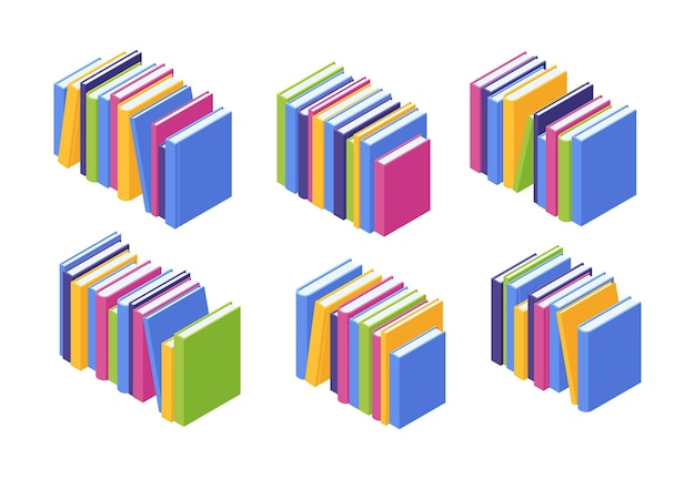 Book pile isometric. illustration set of stacks of standing colorful paper textbooks
