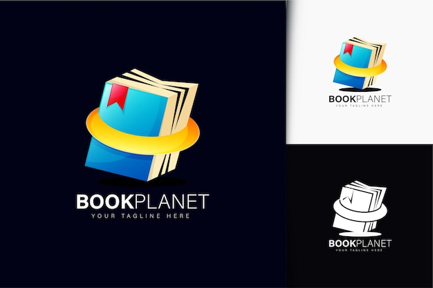 Book planet logo design with gradient