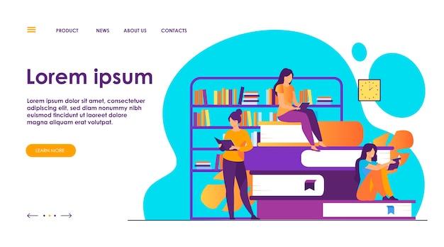 책 독자 개념. 도서관에서 책 더미에 앉아있는 사람들, 집에서 교과서를 읽는 여성들