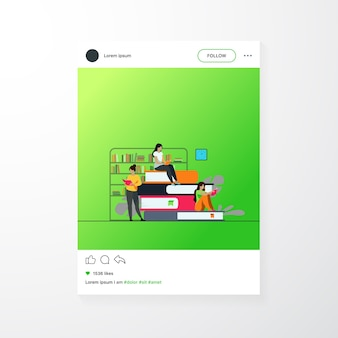 Book readers concept. people sitting on stack of books in library, women reading textbooks at home, students doing homework research. flat vector illustration for knowledge, literature topics