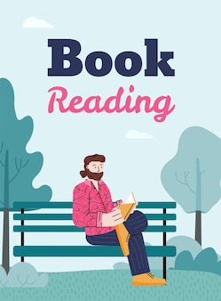 Book reading banner with man on a park bench flat cartoon