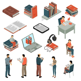 Book reading isometric set