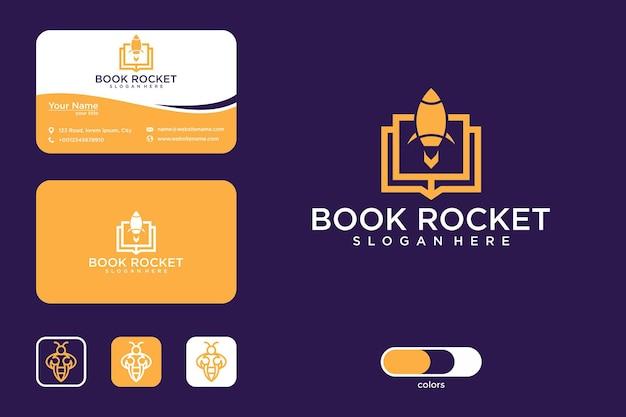 Книга ракета дизайн логотипа и визитная карточка