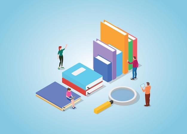 도서 컬렉션 및 검색하는 사람들과 도서 검색 개념
