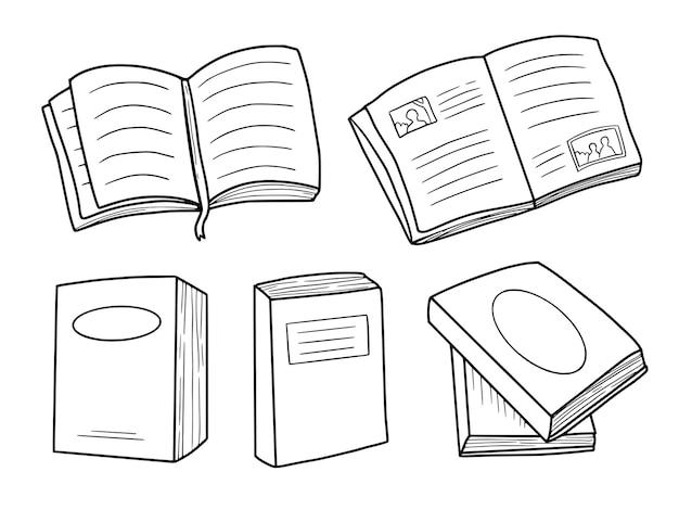 책 세트 낙서 핸드 드로잉 스케치 컬렉션