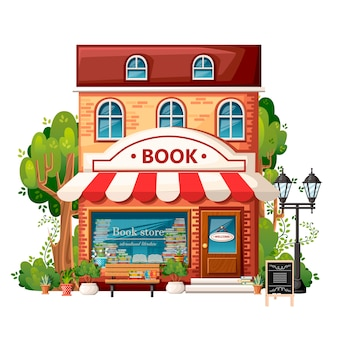 Book shop front view. city  elements.   . book store with welcome sign, bench, streetlight, green bushes and trees.  illustration on white background.