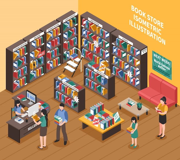 Book shop isometric illustration
