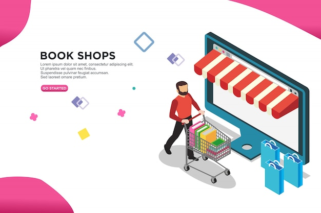 Book shops isometric design