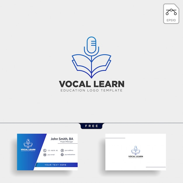 Book sing vocal learning line logo