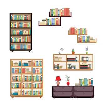 Book stack on bookshelf bookcase rack library furniture