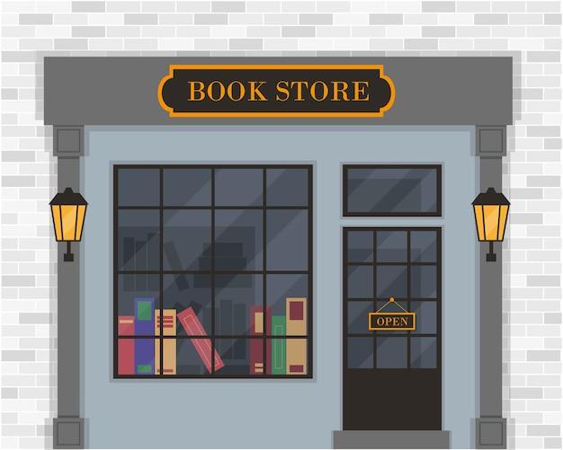 Книжный магазин экстерьера или фасад книжного магазина.