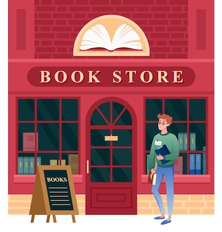 Book store facade. cartoon vintage city building architecture of bookstore and student