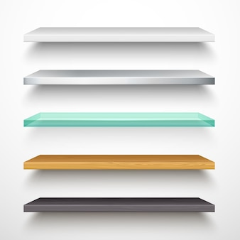 Book store shelves, vector isolated 3d mockup models with shadow.