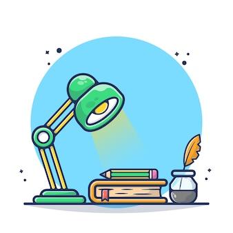 テーブルランプの羽とペンのイラストで学ぶ本。ワークスペース、読書、勉強、学習。フラット漫画のスタイル