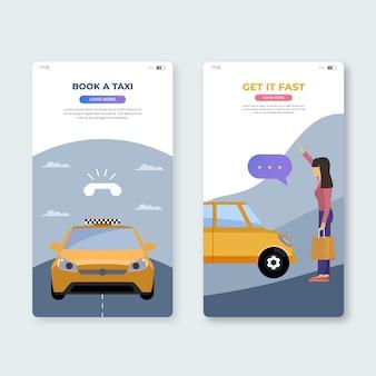 Book a taxi mobile app screens