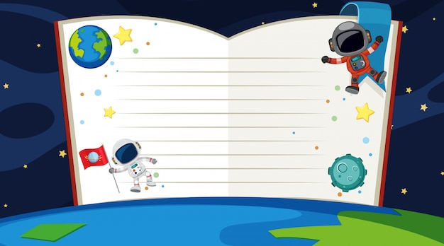 Book template with space theme
