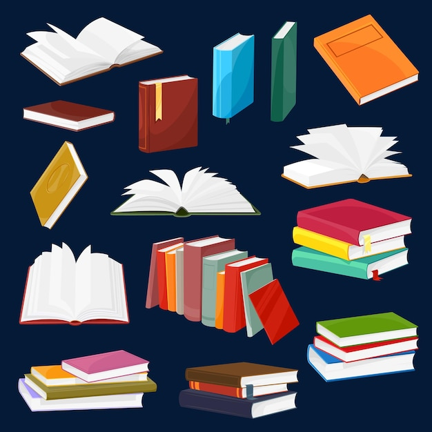 Book and textbook vector set with cartoon piles or stacks of open and closed books