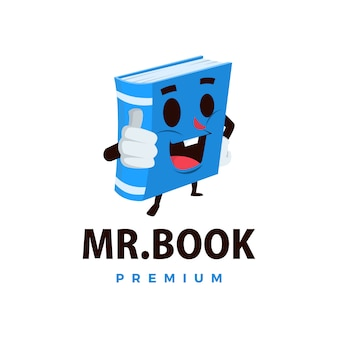 Book thump up mascot character logo  icon illustration