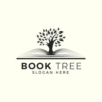 Book tree logo design template