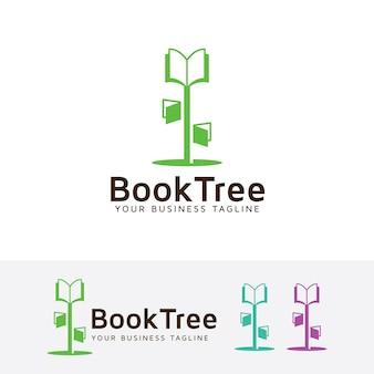 책 나무 벡터 로고 템플릿