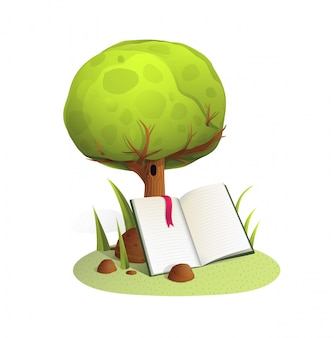 木の水彩風イラスト下の本