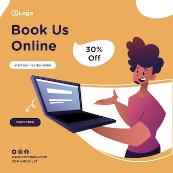 Book us online banner design with salon man is showing a laptop for online booking