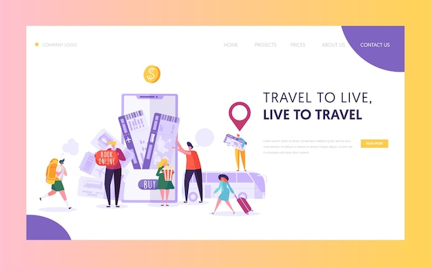 Book vacation electronic ticket landing page.
