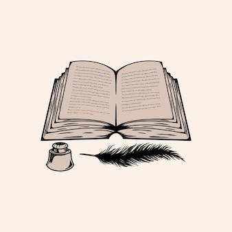 詳細で編集可能な本のベクトル手描き
