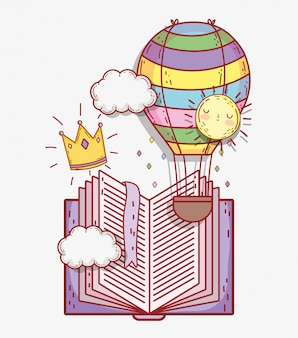 Book with air balloon and crown with clouds