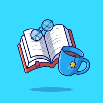 Book with coffee and glasses   icon illustration. education concept isolated