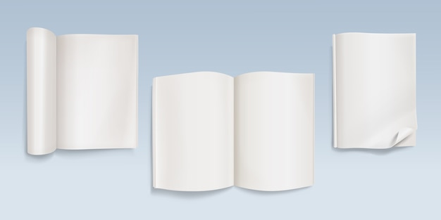 Book with empty pages illustration of notebook with blank paper sheets and curved corners.