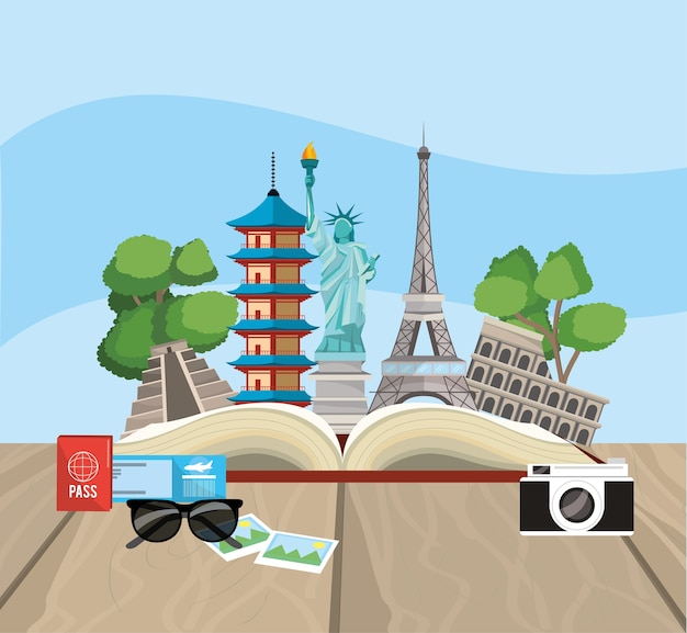 Book with global travel place destination