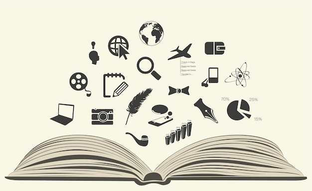 Book with icons.