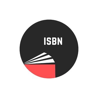 Isbnを丸で囲んで予約します。小冊子、電子ブック、商業標準、文学、オープンブックのロゴ、プレスの概念。白い背景で隔離。フラットスタイルトレンドモダンなロゴタイプデザインベクトルイラスト