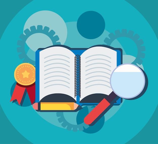 Книга с лупой и значками образования