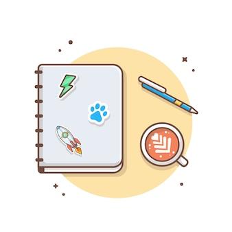 ペンとコーヒーのベクトルアイコンイラスト付きの本。白い分離された芸術と教育のアイコンコンセプト