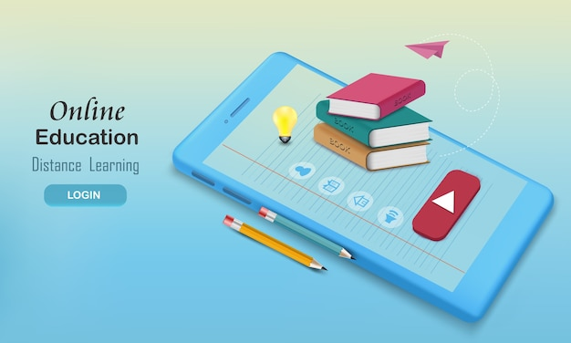 鉛筆で予約し、オンライン教育のための講義