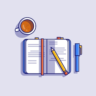 Book with pencil, pen and coffee cartoon icon illustration. education object icon concept isolated . flat cartoon style