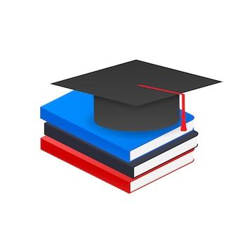 Book with vector graduation cap.
