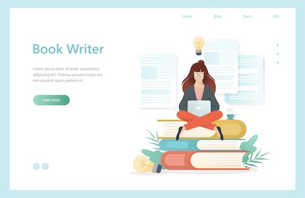 책 작가 개념. 노트북으로 앉아있는 여자