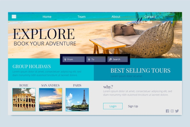 Book your adventures landing page