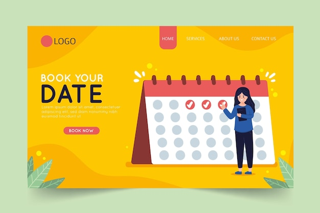 Book your date on calendar landing page