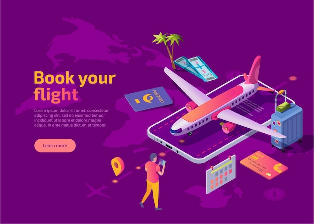 Book your flight isometric landing page.
