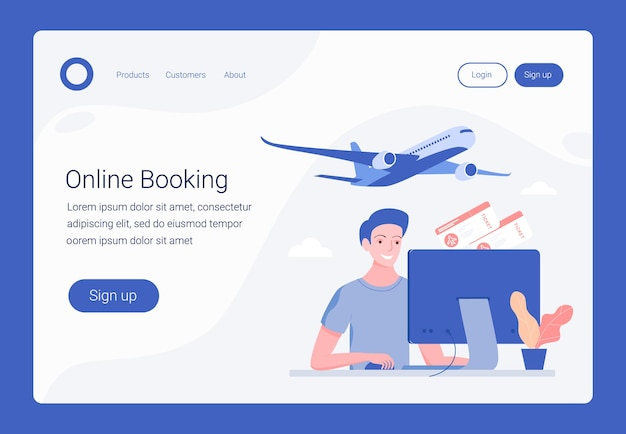 Book your flight, online booking concept. landing page template. happy young man book two plane tickets. trendy flat style.  .
