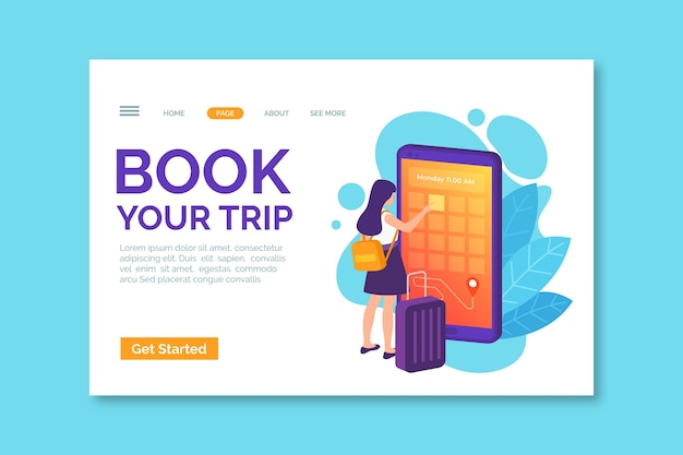Book your trip landing page