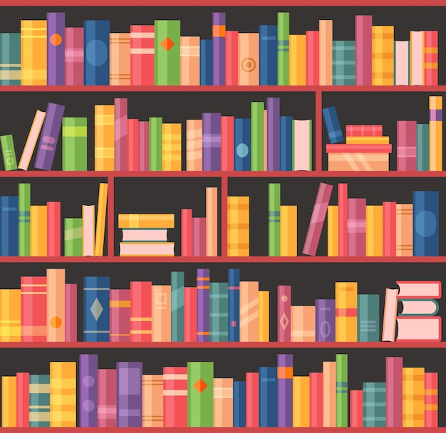 Bookcase or bookshelf with books, library of university or school librarian room, vector background.