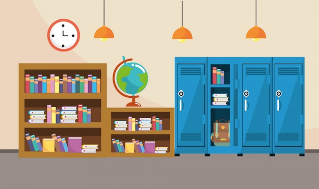 Bookcase and lockers with clock in the classroom supplies