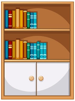 Bookcase with books and cabinet