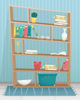Bookcase with books, candles, vases and other accessories.