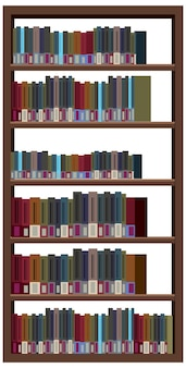 Bookcase with books on white background